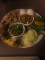 Northern Style Hors D'Oeuvre with Nam Prik, the Northern Thai chilli dips, sai oua and crispy pork rinds